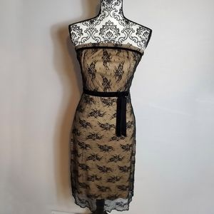 Charlotte Russe Nude and Black Lace Dress Size S